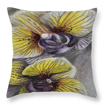 Yellow Stripped Orchids Throw Pillow