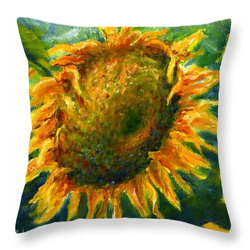 Yellow Sunflower Art In Blue And Green Throw Pillow by Lenora  De Lude