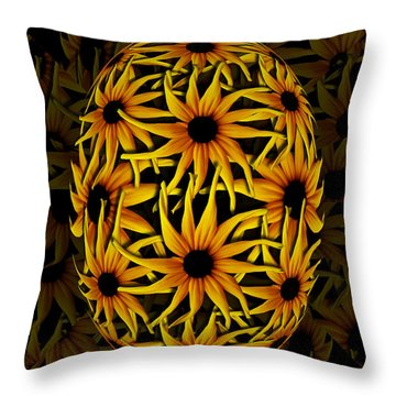 Yellow Sunflower Seed Throw Pillow by Barbara St Jean
