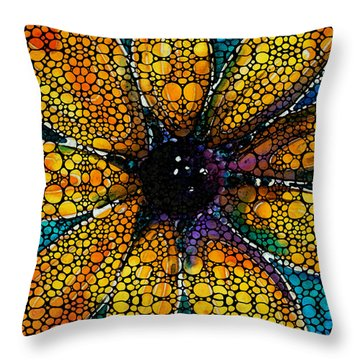 Yellow Sunflower - Stone Rock'd Art By Sharon Cummings Throw Pillow by Sharon Cummings
