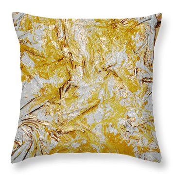 Yellow Sunshine Throw Pillow by Angela Stout