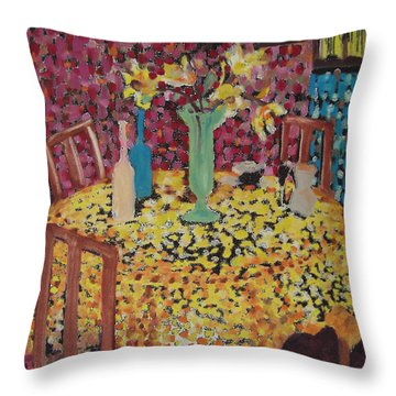 Yellow Table Throw Pillow by Karen Coggeshall