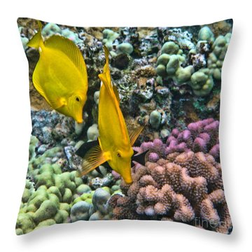 Yellow Tang Pair Throw Pillow by Peggy Hughes