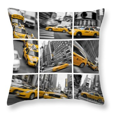 Yellow Taxis Collage Throw Pillow