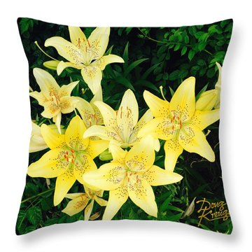 Throw Pillow featuring the photograph Yellow Tiger Lilies by Doug Kreuger