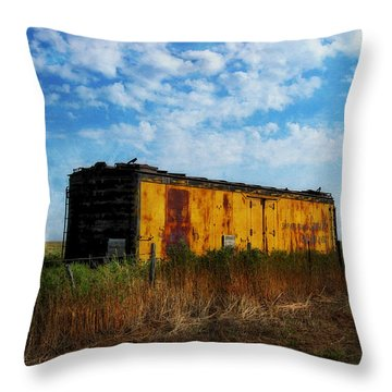 Yellow Train Car Throw Pillow