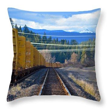 Yellow Train To The Mountains Throw Pillow