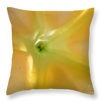 Yellow Translucent Flower Throw Pillow by Bev Conover