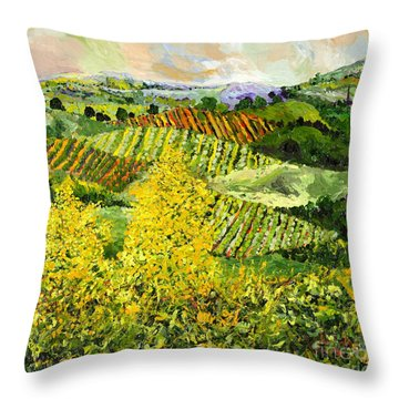 Yellow Trees Throw Pillow by Allan P Friedlander
