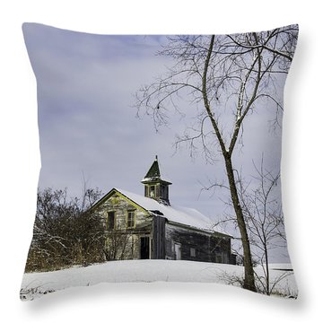 Yellow Trimmed Barn Throw Pillow by Betty Denise