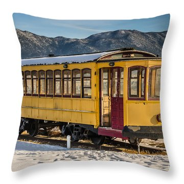 Yellow Trolley Throw Pillow