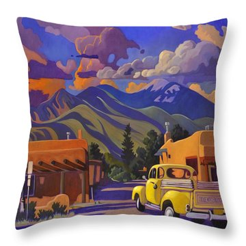 A Yellow Truck In Taos Throw Pillow