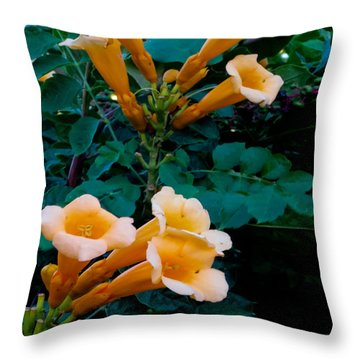 Yellow Trumpet Creeper Duo Throw Pillow