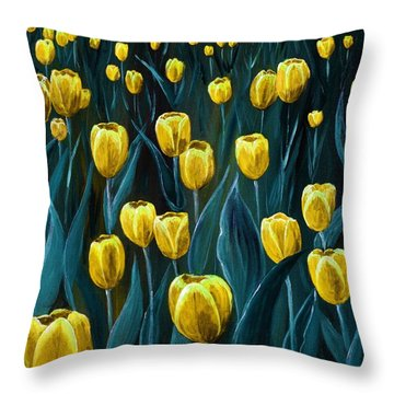 Yellow Tulip Field Throw Pillow by Anastasiya Malakhova