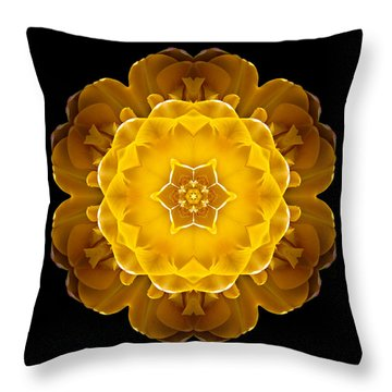 Yellow Tulip II Flower Mandala Throw Pillow