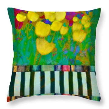 Yellow Tulips Abstract Art Throw Pillow by Ann Powell