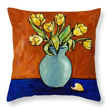 Yellow Tulips In A Turquoise Vase Throw Pillow