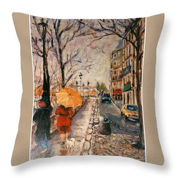 Throw Pillow featuring the painting Yellow Umbrella by Walter Casaravilla
