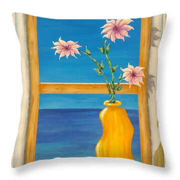Yellow Vase With Sea View Throw Pillow by Pamela Allegretto