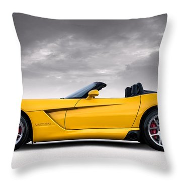 Yellow Viper Roadster Throw Pillow
