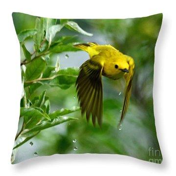 Yellow Warbler Takes Flight Throw Pillow