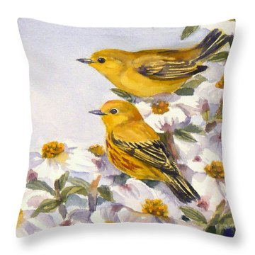 Yellow Warblers Throw Pillow