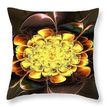 Yellow Water Lily Throw Pillow by Anastasiya Malakhova