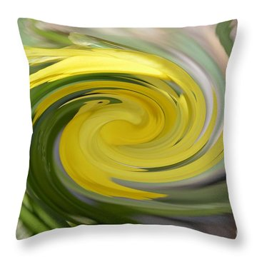 Throw Pillow featuring the digital art Yellow Whirlpool by Luther Fine Art
