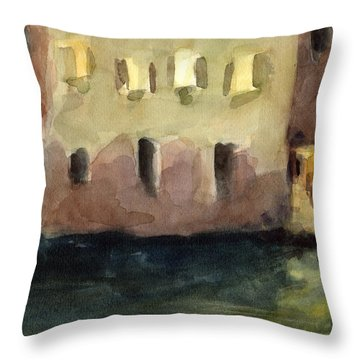 Yellow Windows At Night Watercolor Painting Of Venice Italy Throw Pillow