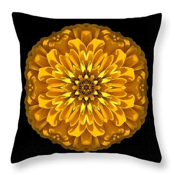 Yellow Zinnia Elegans Flower Mandala Throw Pillow
