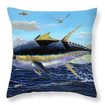 Yellowfin Crash Off0081 Throw Pillow by Carey Chen