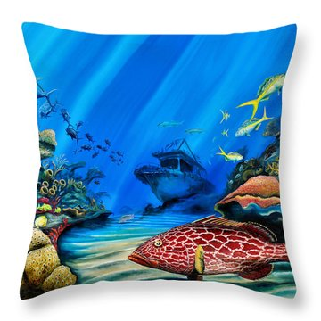 Yellowfin Grouper Wreck Throw Pillow