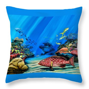 Yellowfin Grouper Wreck Throw Pillow