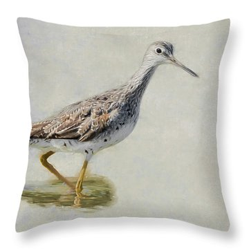 Yellowlegs Throw Pillow by Bill Wakeley