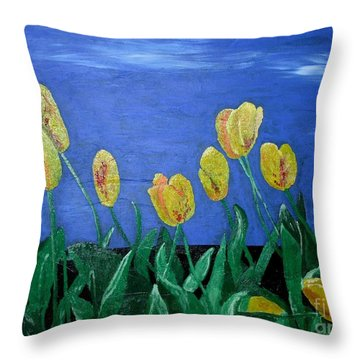 Yellowred Tulips Throw Pillow