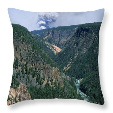 Yellowstone Afire Throw Pillow by Sandra Bronstein