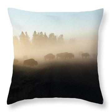 Yellowstone Bison In Early Morning Fog Throw Pillow by Bob and Nancy Kendrick