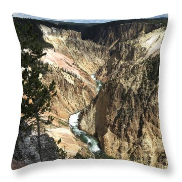 Throw Pillow featuring the photograph Yellowstone Canyon by Laurel Powell