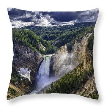 Yellowstone Canyon Lower Falls Throw Pillow