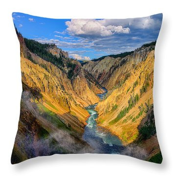 Yellowstone Canyon View Throw Pillow by Greg Norrell