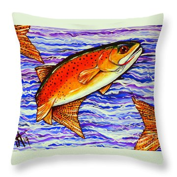 Yellowstone Cutthroat Throw Pillow by Jackie Carpenter