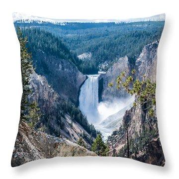 Yellowstone Falls  Dsc_6417-2 Throw Pillow