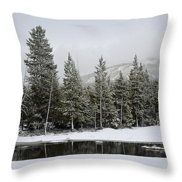 Yellowstone Gibbon Meadows Spring Snow And Reflection Throw Pillow by Bruce Gourley
