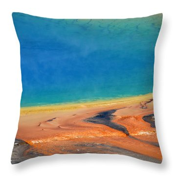 Yellowstone Grand Prismatic Colors Throw Pillow by Debra Thompson