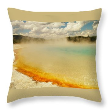 Yellowstone Hot Springs Throw Pillow by Jeff Swan