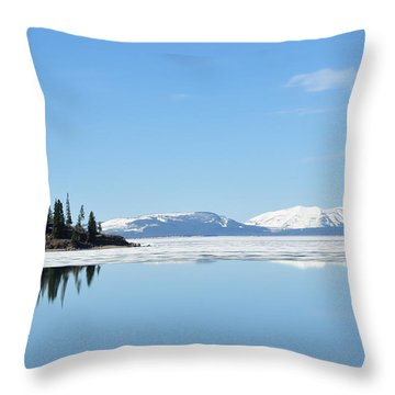 Yellowstone Lake In The Spring Throw Pillow