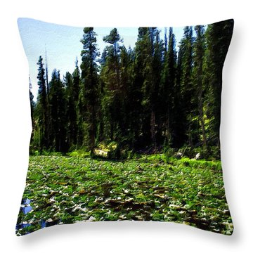 Yellowstone Lily Pads  Throw Pillow