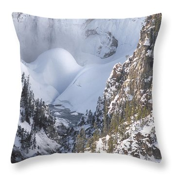 Yellowstone -  Lower Falls In Winter Throw Pillow by Sandra Bronstein
