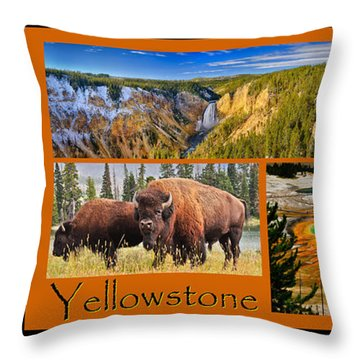 Yellowstone National Park Throw Pillow by Greg Norrell