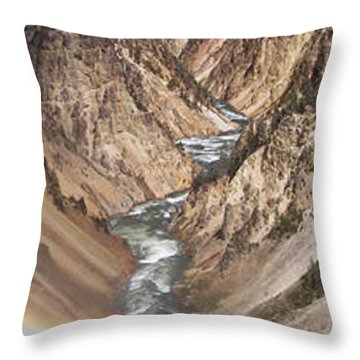 Yellowstone National Park Montana  3 Panel Composite Throw Pillow by Thomas Woolworth